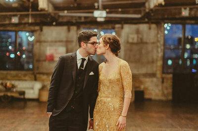 Maya y Uri: una boda rústica-vintage en un loft de Nueva York