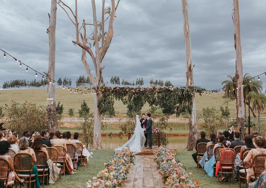 Espaço dinâmico, com atenção aos detalhes e um verde exuberante para o seu casamento ao ar livre. Você vai se encantar!