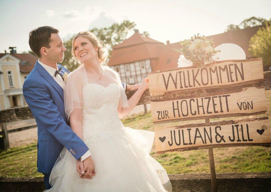 """Die sympathische Hochzeit von Jill und Julian unter dem Motto """"Reisen"""""""