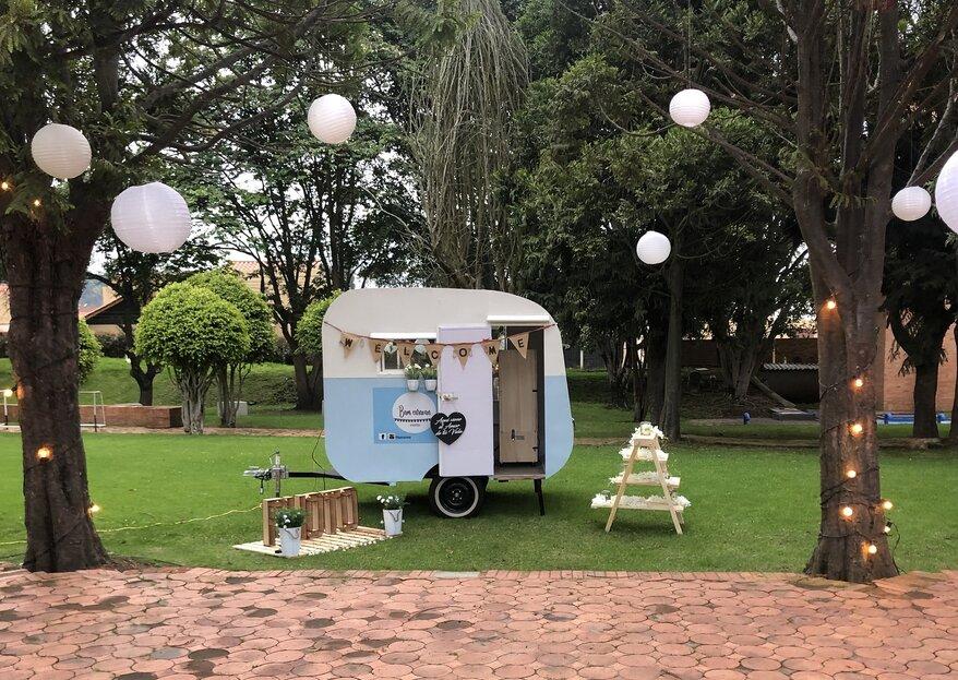 Cuatro ideas para usar una caravana rodante en tu boda, por Bam Caravan Eventos