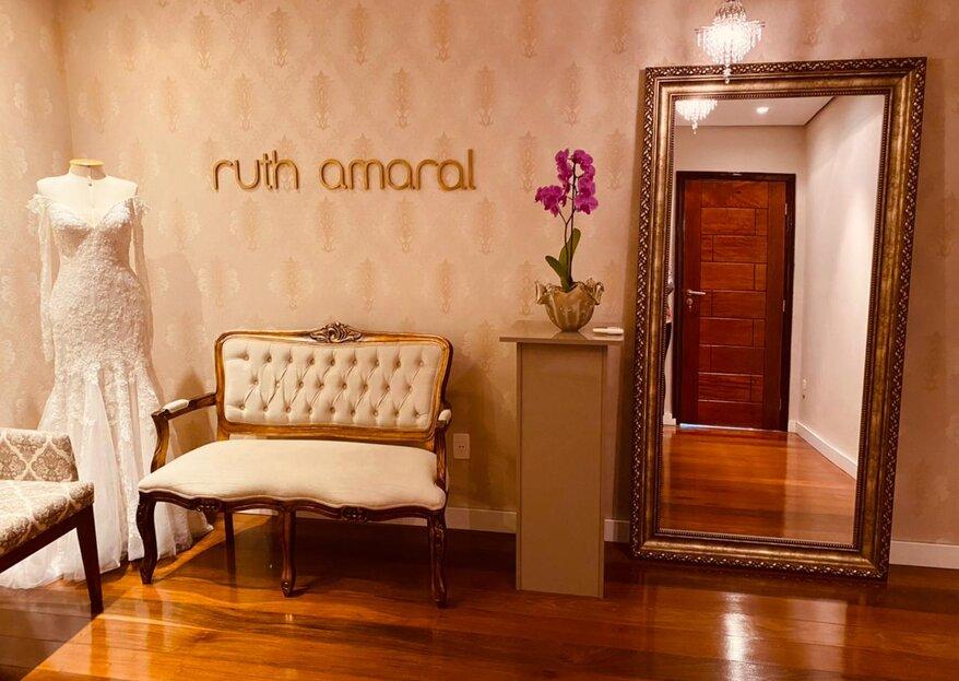 Ruth Amaral - Noiva e Festa: grife mineira de casa nova para receber suas clientes com todo conforto e sofisticação