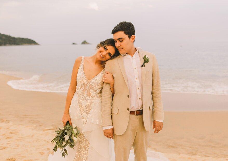 Casamento Jessica e Eduardo: história de amor à beira mar no litoral de São Paulo