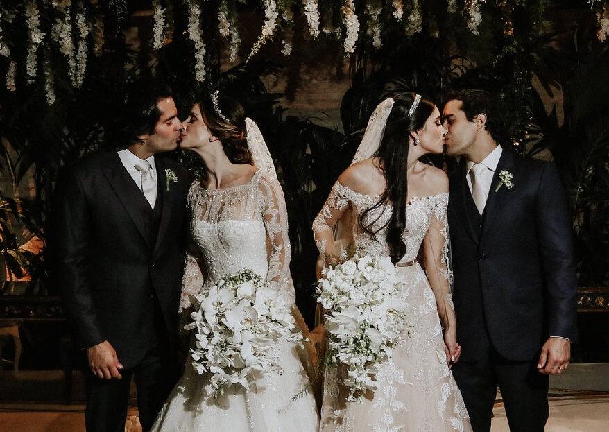 Casamento duplo clássico de Fernanda & Luciano e Marcela & Marcelo: um dia dos sonhos de duas irmãs inseparáveis, até na hora de casar!