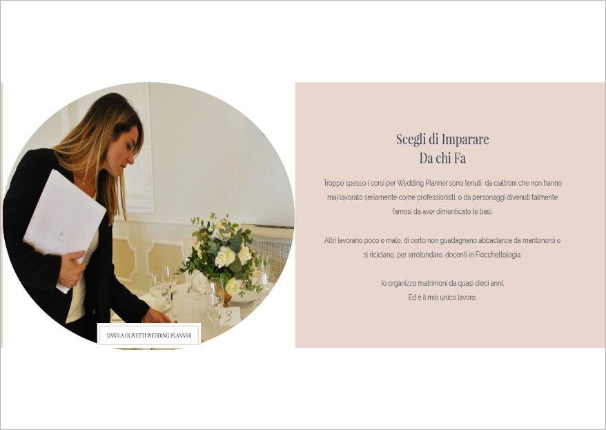 Un corso #fiocchettofree per aspiranti wedding planner by Danila Olivetti: dal 9 al 12 gennaio 2020