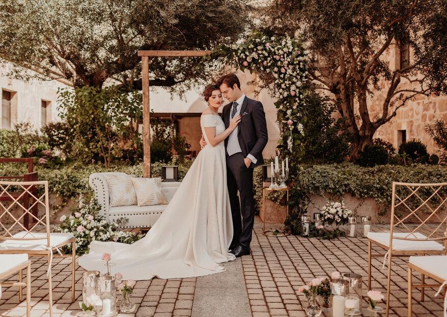 Blanco, negro y oro: un shooting de boda 'art deco'