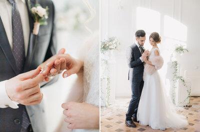 Зимняя свадебная фотосессия Сергея и Валерии в нежных и теплых тонах