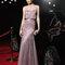 Vestido 8T227 Rosa Clará 2015 rosa grisáceo con falda evasé de tul.