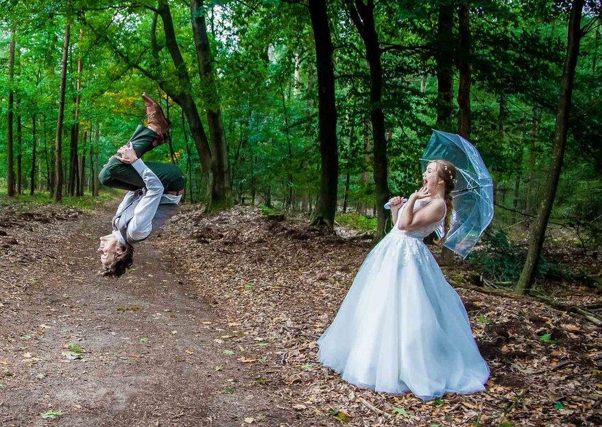 Regen op je bruiloft? Zo krijg je alsnog de beste foto's!