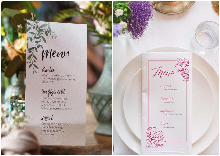 De menukaarten voor jullie bruiloft: zo presenteer je ze!