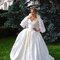 Robe de mariée Victoria soie et dentelle cape courte