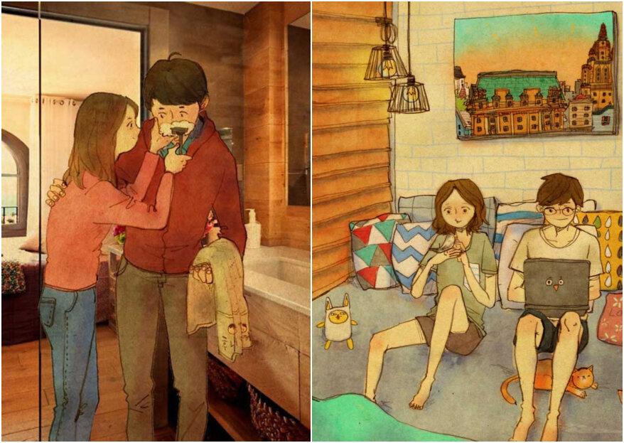 20 ilustraciones para enamorarnos: ¡el amor del día a día se ve en los pequeños gestos!