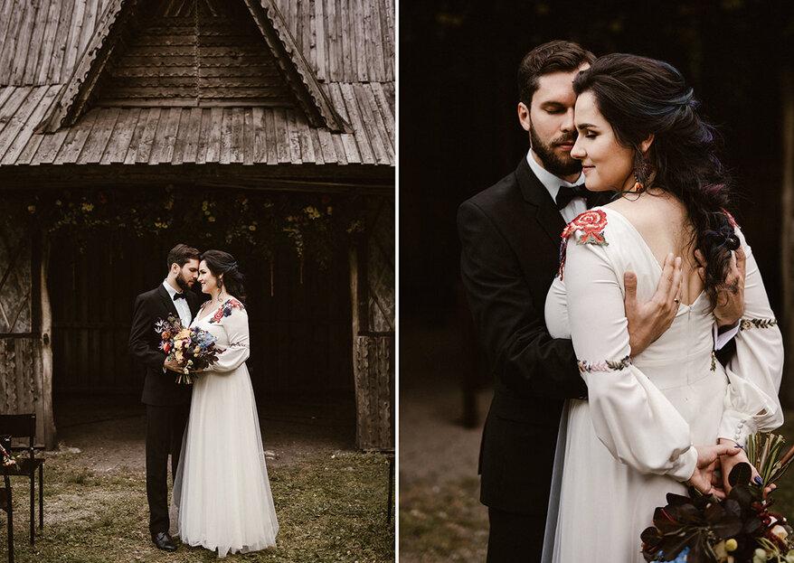Zaczarowany ślub Kasi i Jana w Złotym Jarze... Zobacz tą folkową suknię ślubną!