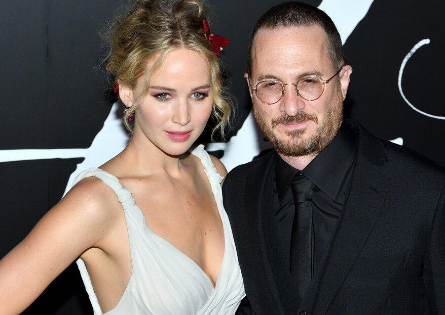 Jennifer Lawrence oficializa o namoro com Darren Aronofsky... vestida de noiva!