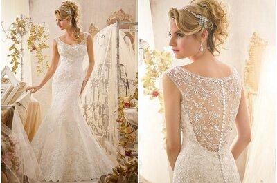 El vestido de la semana: una novia con bordados y transparencias