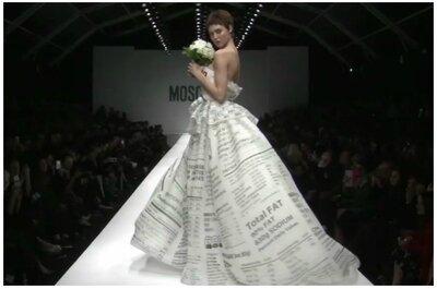 L'abito della settimana: dalla fashion week autunno/inverno 2015 di Milano, la sposa di Jeremy Scott per Moschino è un'esplosione di ironia (e di valori nutrizionali!)