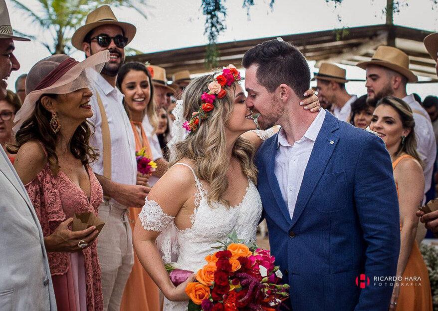 Luciana & Thiago: Casamento na praia inesquecível no Luai Cabanas, em Maresias