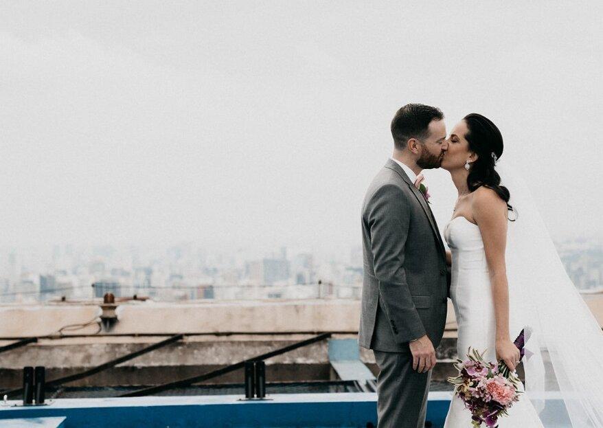 Mariana & Scott: Casamento moderno e urbano realizado em rooftop paulistano com assessoria de Barbara Grion