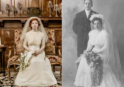 A photoshoot with a difference: bride poses in four generations of wedding dresses!