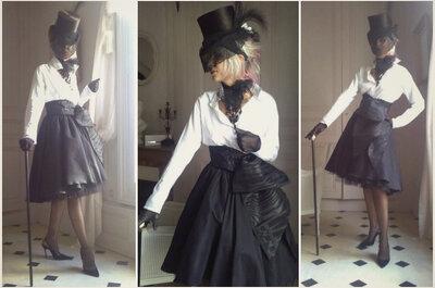 Une invitée originale et sophistiquée avec les tenues de soirée du créateur Jean-Marie Bataille