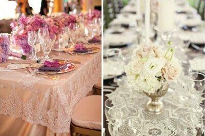 Toque de renda na decoração do seu casamento