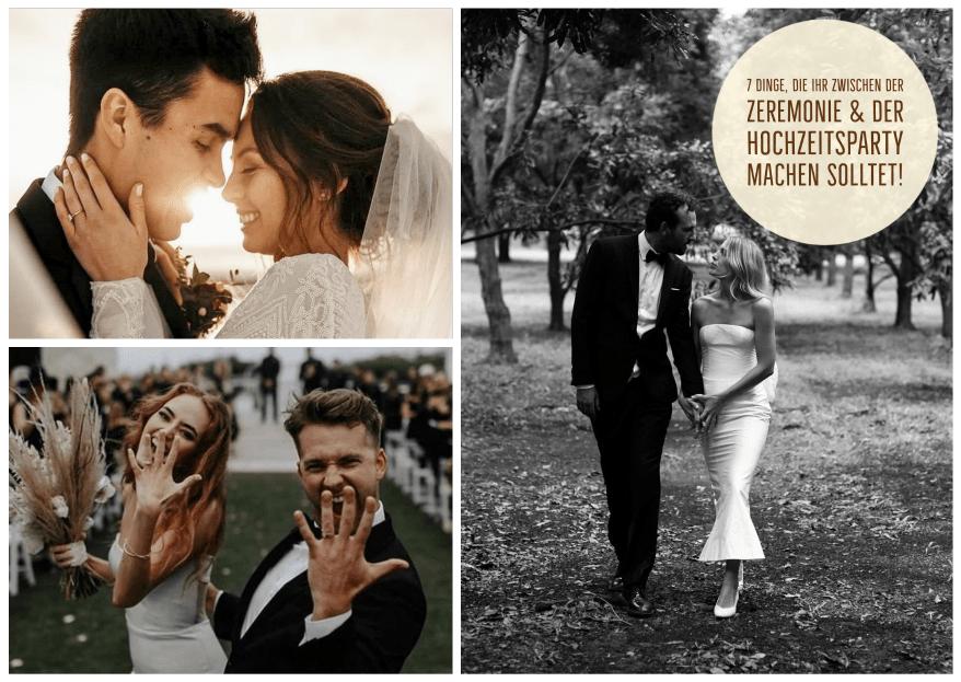 7 Dinge, die Ihr zwischen der Zeremonie & der Hochzeitsparty machen solltet!