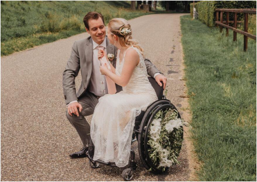 Trouwen in een rolstoel: prachtige styled shoot met als thema buitenbruiloft!
