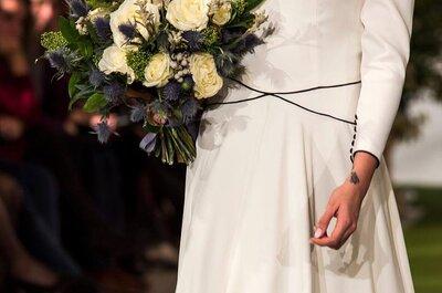Un tocco di nero sull'abito bianco, ecco la tendenza del momento per la sposa moderna