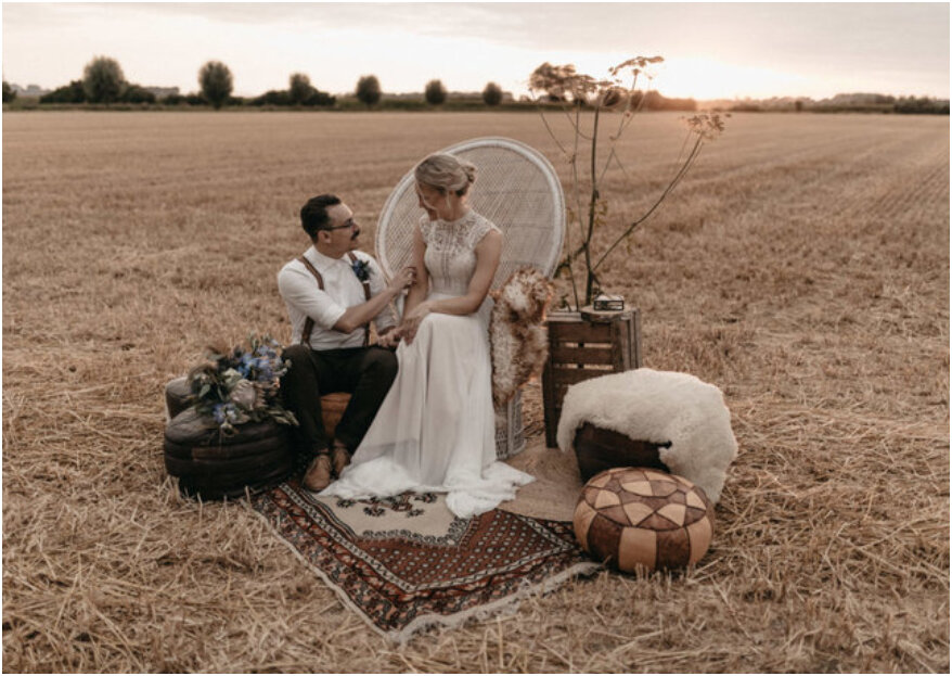 Bohemian styled wedding shoot met een touch of blue!