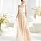 Vestido largo en color nude para damas de boda