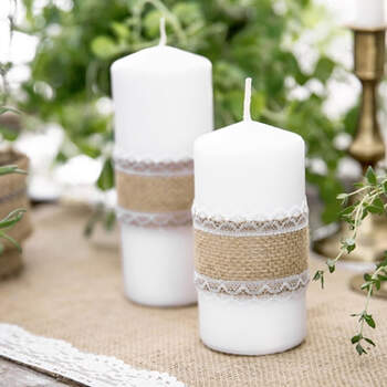 Cinta De Yute Con Encaje Blanco 5m - The Wedding Shop