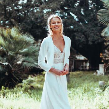 Photo : Guillaume Gilles - Elsa Gary, robe de mariée Espérance et veste Insolent