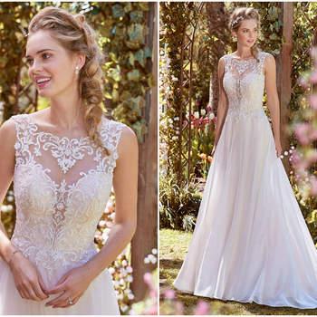 Dieses Kleid verführt subtil denn der tiefe Ausschnitt wird mit transparentem Stoff und aufwendigen Stickereien gekonnt umspielt.