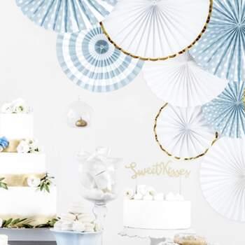 Rosette Décorative White And Gold 3 Pièces - Achetez sur The Wedding Shop !