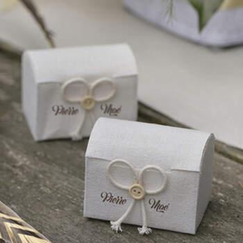 Boite à dragées en forme de coffre 4 pièces -  The Wedding Shop !