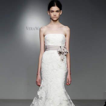 Vestido de noiva rendado.