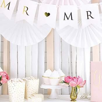Décoration bandes pêches 4 pièces - Achetez sur The Wedding Shop !
