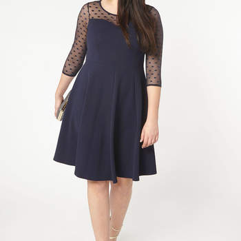 Navy Blue Fit & Flare Dress. Credits: Evans