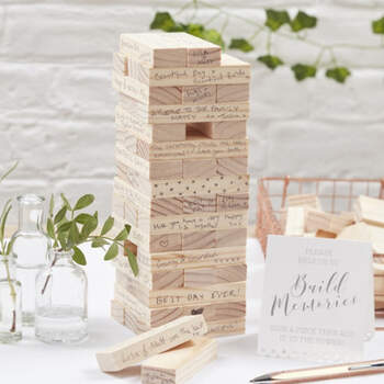 Libro de Firmas inspirado en el juego 'jenga'- Compra en The Wedding Shop