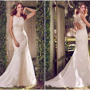 """Lace motifs cascade over tulle and Inessa Jersey in this sleeveless sheath wedding gown, featuring a jewel neckline and illusion keyhole back. Finished with crystal buttons and zipper closure.  <a href=""""https://www.maggiesottero.com/maggie-sottero/rhonda/11191?utm_source=zankyou&amp;utm_medium=gowngallery"""" target=""""_blank"""">Maggie Sottero</a>"""