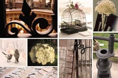 Collage de inspiración para decorar una boda con metales