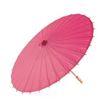Parasol En Papier Et Bambou Fuchsia