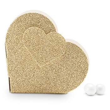 Boîtes Coeur Or Glitter 10 Pièces -  The Wedding Shop !