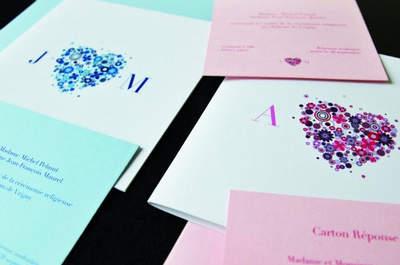 aire-part de mariage Coeur Poudré pour l'Art du Papier - Crédit photo : Jeanne C