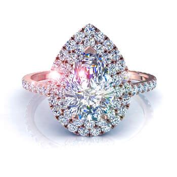 Photo :  Diamants et Carats - Modèle : Bague Antoinette diamant poire or rose