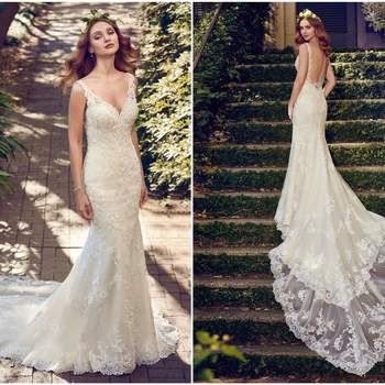 """Shimmering lace motifs adorn this tulle sheath wedding dress, completing the illusion double-train, illusion open back, V-neck, and illusion straps. Finished with covered buttons over zipper closure.   <a href=""""https://www.maggiesottero.com/maggie-sottero/zamara/11200?utm_source=zankyou&amp;utm_medium=gowngallery"""" target=""""_blank"""">Maggie Sottero</a>"""