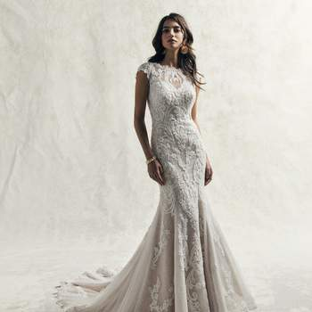 Beaded lace motifs dance over an all over lace and textured tulle in this vintage-inspired sheath wedding dress.