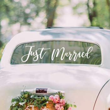 Adhesivos para el coche recién casados blanco - Compra en The Wedding Shop