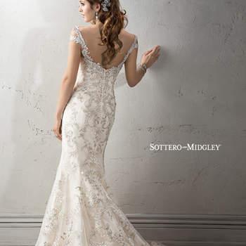 """Exquisito vestido de novia aderezado con cientos de aplicaciones de pedrería. El modelo cuenta con una silueta ceñida y falda larga que desemboca en una linda cauda. Los tirantes agregan comodidad, mientras que los bordados detallados acentúan el romanticismo de la prenda.   <a href=""""http://www.sotteroandmidgley.com/dress.aspx?style=4SC963"""" target=""""_blank"""">Sottero &amp; Midgley Platinum 2015</a>"""
