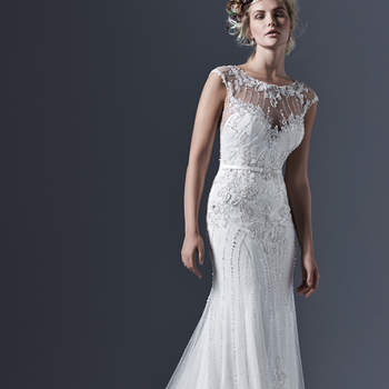 Glamorous tulle paired with intricate pearls and embellishments create this perfectly romantic sheath wedding dress, with a stunning illusion bateau neckline and back, glittering with Swarovski crystals. A satin belt with crystal embellishment accents the waist. Finished with covered buttons and zipper closure. <img height='0' width='0' alt='' src='http://ads.zankyou.com/mn8v' />