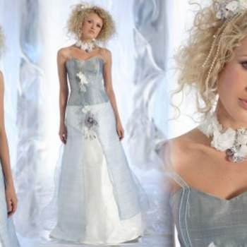 Robe de mariée Elsa Gary 2012, modèle Glacier. Ravissante association de couleurs pour une mariée romantique. - Source : Elsa Gary